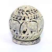 SouvNear 811778020721 Tealight Holder with Elephant Figurines Tendrils Carved on The Side and a Rosette on The Top, Beige