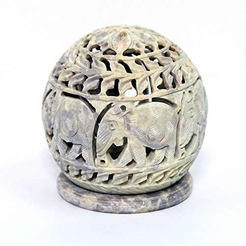 Artist Haat Handcarved Soapstone Round Small Tealight Candle Holder with Elephant Shaped Carving Work (Beige, 3.5