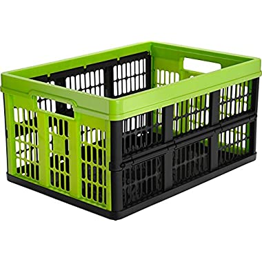 CleverMade CleverCrates Collapsible Storage Bin/Container: 45 Liter Utility Basket/Tote, Kiwi Green