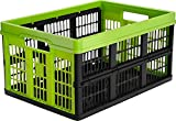 CleverMade CleverCrates Collapsible Storage Bin/Container: 45 Liter Utility Basket/Tote, Kiwi Green, 4 Pack