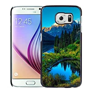 NEW Unique Custom Designed Samsung Galaxy S6 Phone Case With HDR Mountains Lake Forest_Black Phone Case