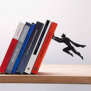 Artori Design  Book & Hero  - Black Metal Superhero Bookend, Unique Bookends, Gifts for Geeks, Gifts for Book Lovers, Cool Book Stopper