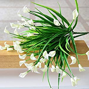 GSD2FF Beautiful 25 Heads/Bouquet Mini Artificial Calla with Leaf Silk Fake Lily Aquatic Plants Home Room Decoration Flower 80