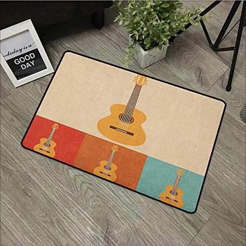 Outdoor door mat W16 x L24 INCH Guitar,Retro Icons Acoustic Guitars in Colorful Frames Nostalgic Music Stringed Instrument, Multicolor Our bottom is non-slip and will not let the baby slip,Door Mat Ca