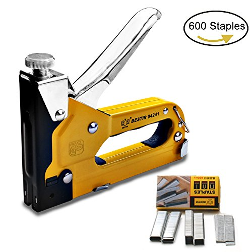 3-in-1 Staple Gun, Hand Operated Carbon Steel Brad Nail Gun, Tool for Fixing Material, Decoration, Carpentry, Furniture, Doors And Windows, Billboards, 600 Staples Attached (1 PACK)