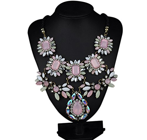 Sweetime Choker Necklace Fashion Flower Bubble Bib Chain Statement Necklace for Women (Homemade Rock Costume Ideas)