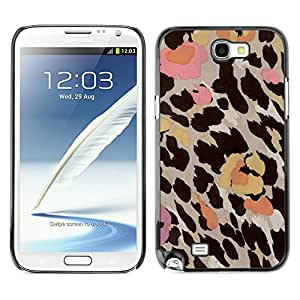 Planetar® ( Leopard Pattern Pink Beige Brown Yellow ) SAMSUNG Galaxy Note 2 II / N7100 Fundas Cover Cubre Hard Case Cover