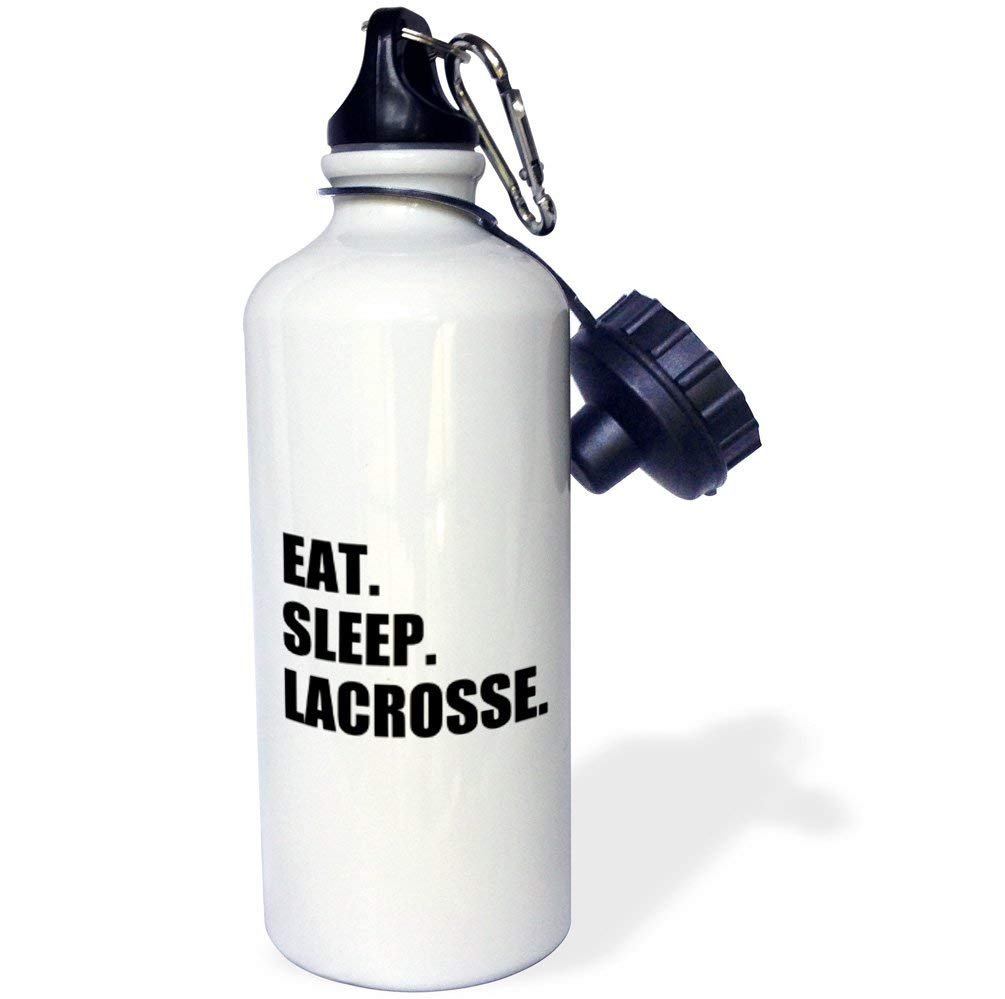 Yohoba Eat Sleep Lacrosse Stainless Steel Sport Water Bottle White 20 Ounces