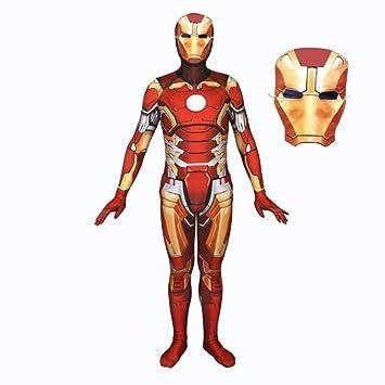 TOYSSKYR Iron Spiderman Cosplay Vestuario Impresión 3D Medias elásticas Juego de película de Halloween Accesorios de Disfraces con máscara (Color : Red ...