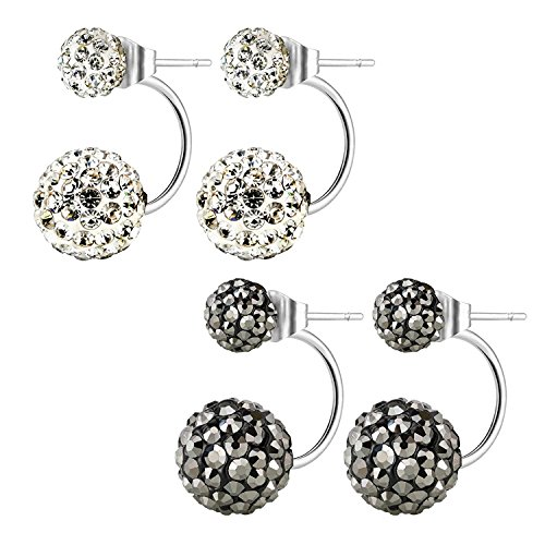 JewelrieShop Lady Assorted Colors Hypoallergenic Double Balls Stud Earrings Rhinestones Crystals Ear Rings -