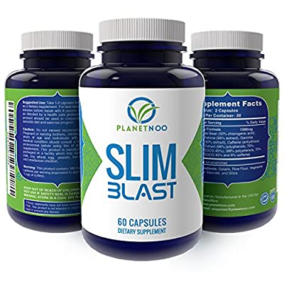 "SLIM BLAST - Garcinia Cambogia - Raspberry Ketones - Green Tea - Green Coffee Beans - Combined for Maximum Weight Loss and Appetite Suppression - Made in USA - ""No Questions"" Guarantee!"