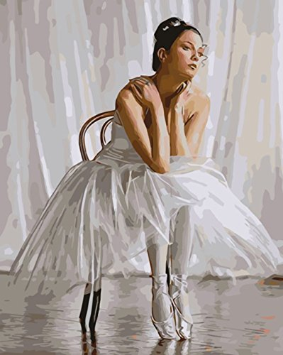 Reflection Ballet Dancer Paint by Number Kits for Adults - 16 by 20 inch Linen Canvas (Without Frame)
