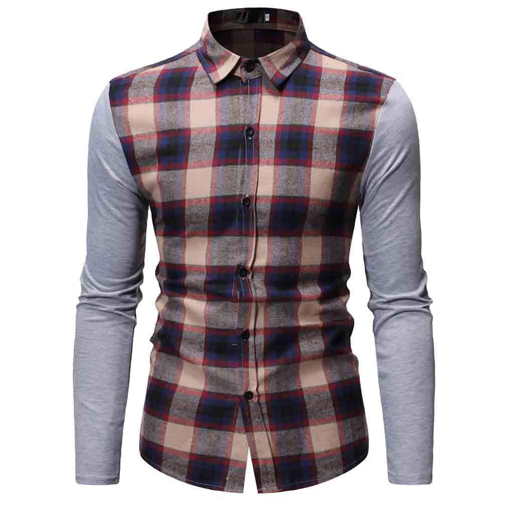 NUWFOR Men's Long Sleeve Lattice Painting Large Size Casual Top Blouse Shirts(Khaki,L US Chest:44.9''