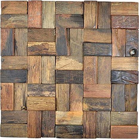 Holz Mosaik Parkett boot OLD Wood Holz FSC Wand Küche Bad ...