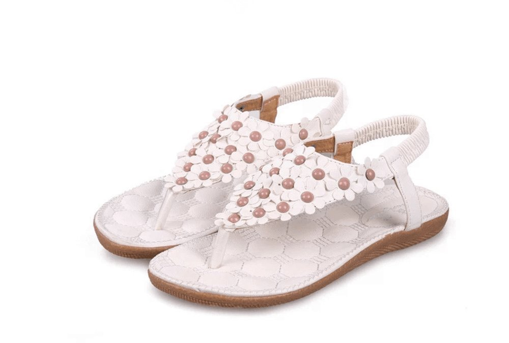 NewYork Offer Shop Women Bohemia Style Sling Sandals Flower Beads T-Strap Flip Flop Flats Slip On Thong Sweet Shoes (Full Floral White, 7 B(M) US/38EU)