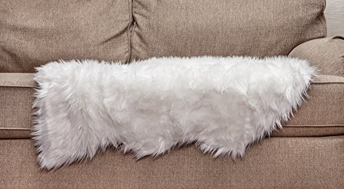 Chanasya Super Soft Faux Fur Fake Sheepskin White Sofa Couch Stool Casper Vanity Chair Cover Rug / Solid Shaggy Area Rugs For Living Bedroom Floor - Pure White 2ftx3ft