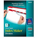 "Index Maker(R) Print & Apply Clear Label Dividers with Traditional Color Tabs, 8-1/2"" x 11"", 5 Tab, Red Tab, White Body, Laser/Inkjet, 5 Set/PK"