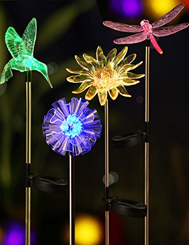 Sunflower Stake (Bright ZEAL [Set of 4] LED Color Changing Solar Stake Lights Outdoor - Solar Light LED Garden Decor Statues (Sunflower, Dandelion, Hummingbird, Dragonfly) - LED Outdoor Multicolor Changing LED Lights)