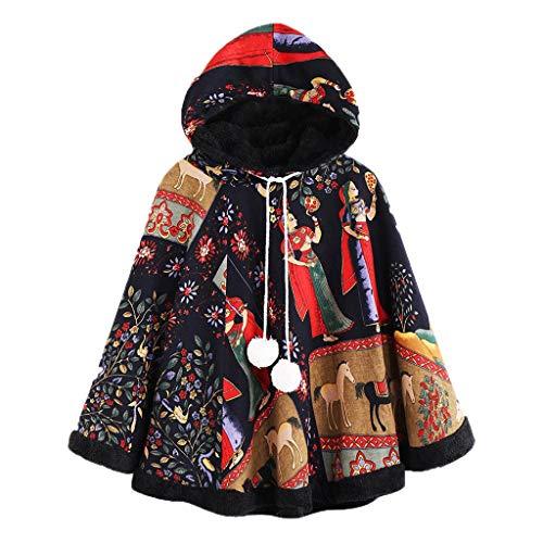 YEZIJIN Womens Winter Warm Vintage Print Ethnic Hooded Drawstring Pom Poncho Coat]()