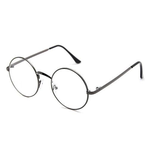 hibote Marco mujeres de los hombres del metal vidrios claros de la manera Gafas #Xier