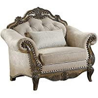Homelegance Moorewood Park Button Tufted Chair with Scrolled Arms, Beige
