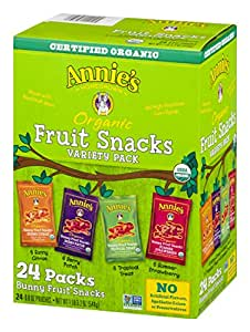 Annie's Organic Bunny Fruit Snacks, Variety Pack, 24 Pouches, 0.8 oz Each