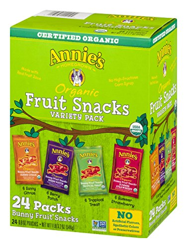 Annie's Organic Bunny Fruit Snacks, Variety Pack, 24 Pouches, 0.8 oz Each (Fruit Variety Pack)