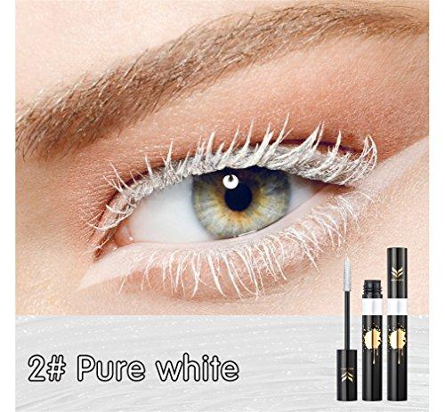 (FantasyDay Rainbow Colorful Mascara Waterproof Color Mascara Colorful Eyelash Makeup 3D Fiber Lash Mascara Volume Eye lash Lengthening Gel Perfect Gift for Girls Kids Women, Pure White, 0.25 Ounce)