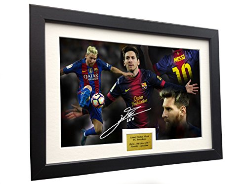 Lionel Messi 12x8 A4 Signed CELEBRATION - Barcelona - Autographed Photo Photograph Picture Frame Soccer Gift (Messi Signed Ball)