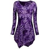 WensLTD Womens Long Sleeve Handkerchief Hem Tie Dye/Ombre Tunics...