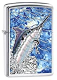 Zippo Custom Lighter: Fusion Marlin Fish in the Ocean - High Polish Chrome 78642