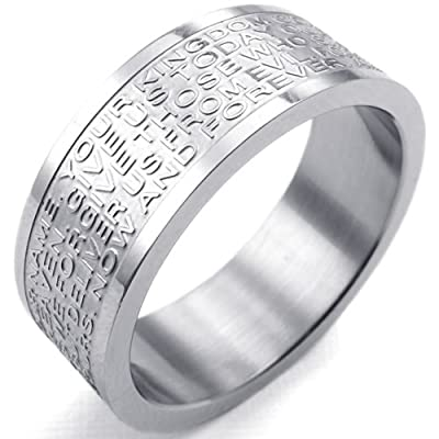 KONOV Jewelry Mens Womens Stainless Steel Ring, English Lord's Prayer Cross 8mm Band, Silver