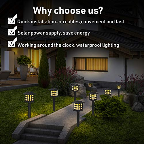 Molbory Solar Pathway Lights Outdoor, 6 Pack Solar Garden Lights Outdoor, Waterproof Solar Powered Garden Lights Landscape for Garden Patio Yard Landscape Pathway and Driveway (Warm White)