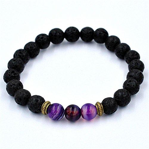 DZT1968 Women Men grinding stones Elastic Beaded Bracelet Tibet Charm Bracelets (purple)