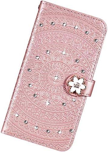 Urhause Kompatibel mit Samsung Galaxy S10e,Mandala Prägung Glitzer Ledertasche PU Flipcase Handytasche Ständer Mit Magnetverschluss Schlüsselband Schutzhülle,Roségold