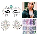 2 Sheets Face & Breast with 8 Boxes 10ml Chunky Glitter Colorful Mermaid Rhinestones Sticker Gem Mixed Paillette - Festival Rave Party Jewel Tattoo