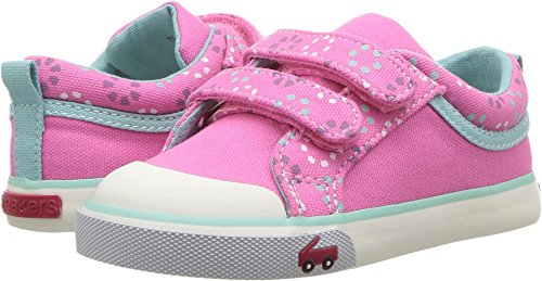See Kai Run Girls' Robyne Sneaker, Hot Pink Circle Mix, 12 M US Little Kid