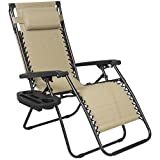 Best Choice Products Zero Gravity Canopy Sunshade Lounge Chair Cup Holder Patio Outdoor Garden Tan