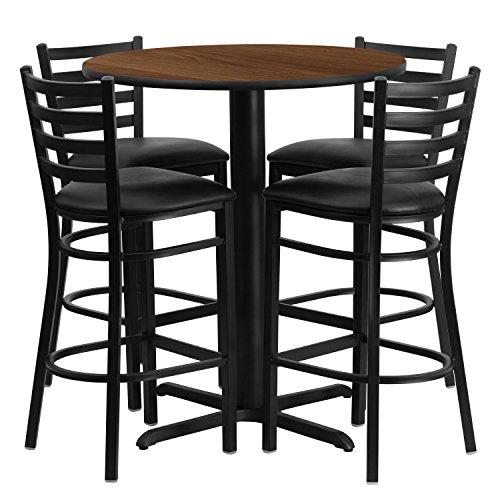 5 Pieces Game Pub (Flash Furniture 30'' Round Walnut Laminate Table Set with 4 Ladder Back Metal Barstools - Black Vinyl Seat)