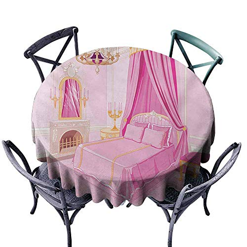 VIVIDX Spillproof Tablecloth,Princess,Interior of Magic Princess Bedroom Old Fashioned Ornament Pillow Mirror Print,for Banquet Decoration Dining Table Cover,70 INCH,Pink Yellow ()