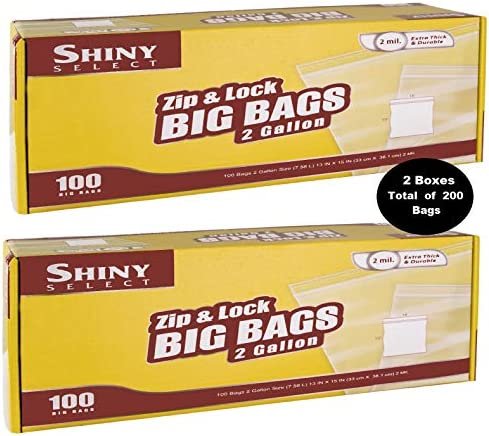 """[ 200 COUNT ] 2 BOXES Large Super Big Bags, Zip & Lock Jumbo Big Plastic Bags, 2 Gallon Food Storage Bags, 2 boxes of 100 bags total of 200 Count (13""""x15"""")"""