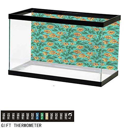 bybyhome Fish Tank Backdrop Green and Orange,Blossoming Leaves,Aquarium Background,30