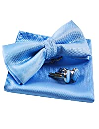 Men's Solid Formal Banded Pre-tied Bow Ties Set (Light Blue)