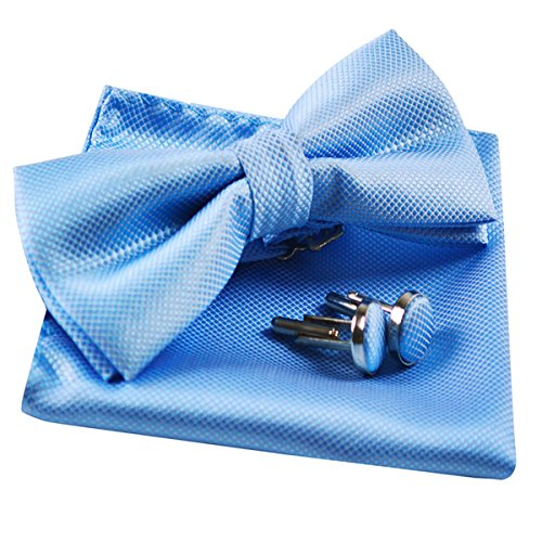 Mens Solid Formal Banded Pre-tied Bow Ties Set-Light Blue