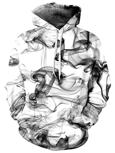 (RAISEVERN Unisex 3d Wash Painting Design Print Hipster Novelty Drawstring Pocket Pullover Hoodie Sweatshirt For Women 2017 Style Chinese Ink Large / X-Large)
