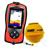 Lucky Wireless Fish Finder with Fish Attractive Light Lamp & Color LCD, Portable Rechargeable Fishfinder Locator, 45M Depth 60M Sonar Sensor Transducer Range for Boats Kayak Ice Night Fishing