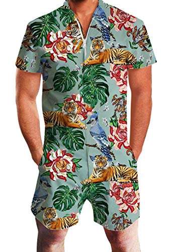 UNIFACO Men Romper Personalized Tiger Printed Zipper Shorts Rompers One Piece Slim Fit Small