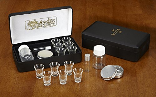 The Last Supper Six (6) Cup Travel Portable Communion Set in Leather Like Case -