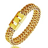 WIBERN 12MM Stainless Steel Gold Tone Double Chain Link Men Bracelet Punk Hiphop Bracelet Men Jewelry (20CM-Gold Plated)