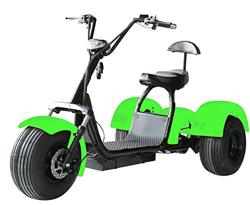 eDrift UH-ES395 Fat Tires 3-Wheel Electric Chopper Trike Scooter Moped with Shocks Harley E-Bike (Green, 12AH 21 Miles) -